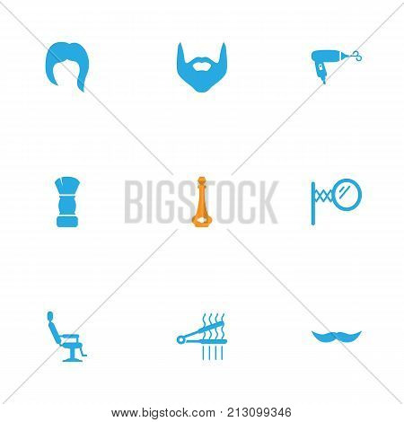 Collection Of Blow-Dryer, Whiskers, Looking-Glass And Other Elements.  Set Of 9 Barber Icons Set.