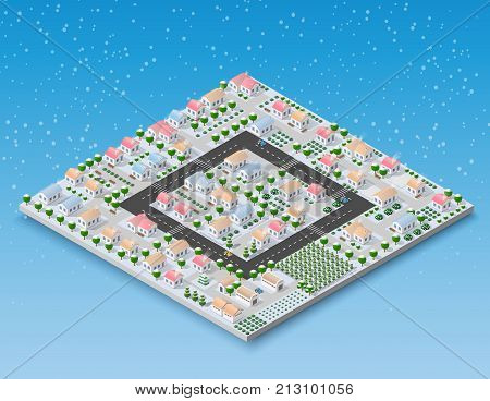 Christmas 3d house in the winter forest. Isometric building in the region landscape. Three-dimensional Village with streets and houses. Seasonal nature scenery stock vector