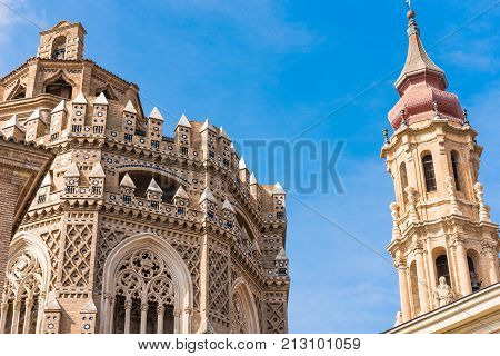 The Cathedral Of The Savior Or Catedral Del Salvador In Zaragoza, Spain. Close-up.