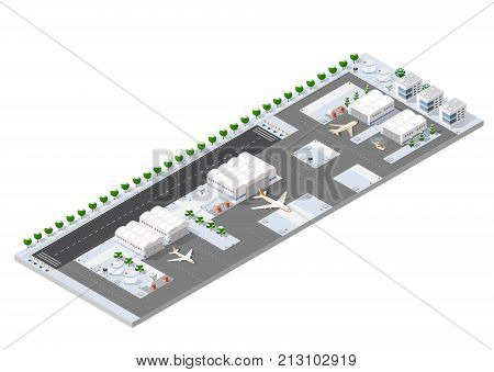 Isometric 3D airstrip of the city international airport terminal and the plane transportation and airplane runway aircraft jet. Urban transport and building construction. Roads trees and paths.