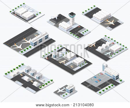 Isometric set 3D airstrip of the city international airport terminal and the plane transportation and airplane runway aircraft jet. Urban transport and building construction. Roads trees and paths.