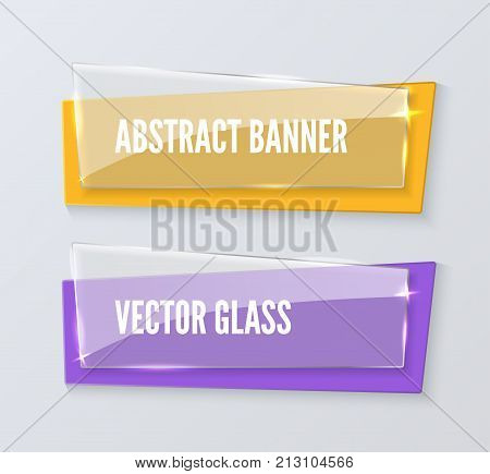 Banner design template. Set of realistic vector abstract transparent glass banners. Shiny glass palate over color rectangle
