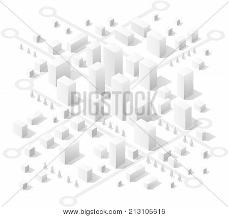 Transportation street. Isometric view of skyscraper office buildings and residential construction area