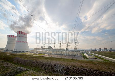 Construction of nuclear power plant against the sky