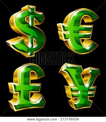 Vector main currency symbols in 3D style. Dollar Euro Pound and Yen.