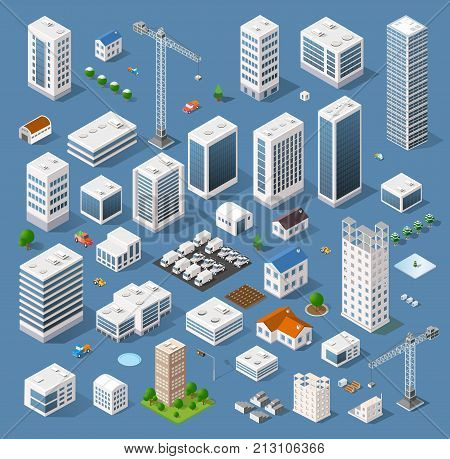 Industrial based on isometric projection of a three-dimensional houses buildings cranes cars and many other design elements necessary creative designers for web projects