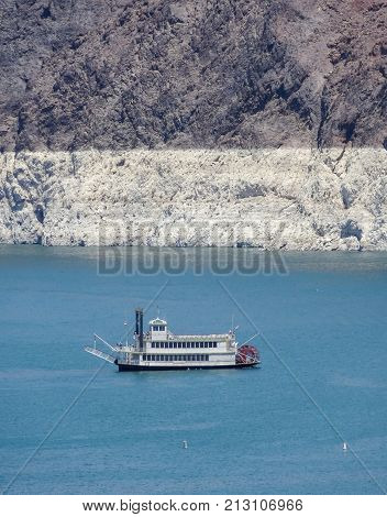 ship at Lake mead near the Hoover Dam in the Black Canyon at the Colorado River in USA