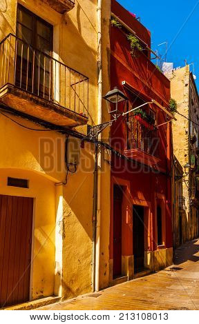 Charming Narrow Street, Street With Colorful Facades Of Buildings, Vintage Style