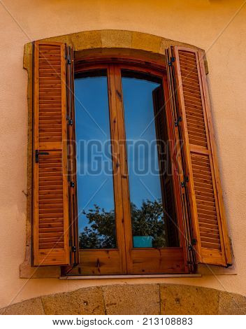 Window Shutters On An Old European Style Building, Architectural Decoration Old Windows, Vintage Sty