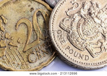 British one pound coin versus euro coin.