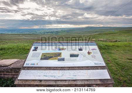 CUMBRIA, ENGLAND - JUNE 15, 2016 - Information board on the summit of Hartside in the North Pennines, UK