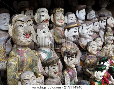 Collection of Vietnamese water puppets at the Temple of Literature Hanoi Vietnam