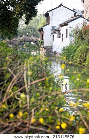 SUZHOU, CHINA - MARCH 31, 2013 - Early morning on Pingjianglu, Suzhou, China