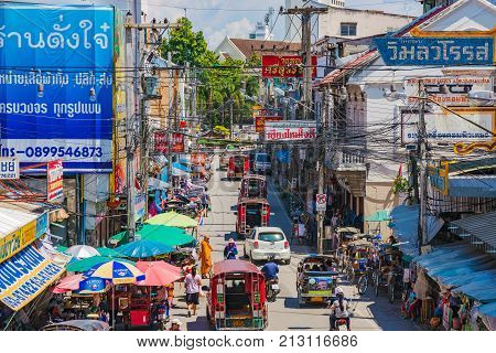 CHIANG MAI THAILAND - JULY 27: This is a view of a busy city stret in the downtown area of Chiang Mai on July 27 2017 in Chiang Mai
