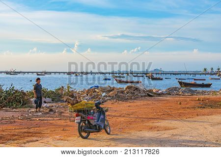 SIRACHA THAILAND - AUGUST 10: This is a view of the beach in Siracha seaside town which is a popular fishing town on August 10 2017 in Siracha