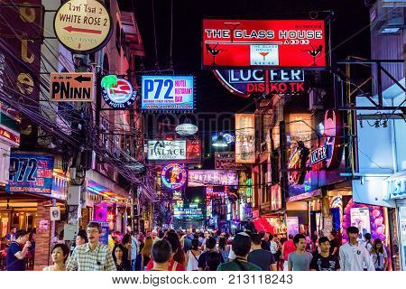 PATTAYA THAILAND - AUGUST 07: This is Walking Street a famous red light district where many tourists come at night to visit clubs and bars on August 07 2017 in Pattaya