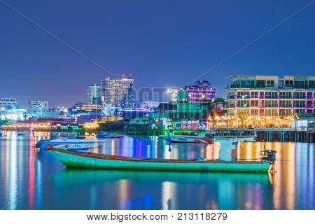 PATTAYA THAILAND - AUGUST 05: This is a view of Pattaya city seafront architecture and docks Pattaya is a popular tourist destination well known for its nightlife on August 05 in Pattaya