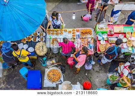 SRIRACHA THAILAND - AUGUST 03: This is local market stall selling street food on August 03 2017 in Sriracha