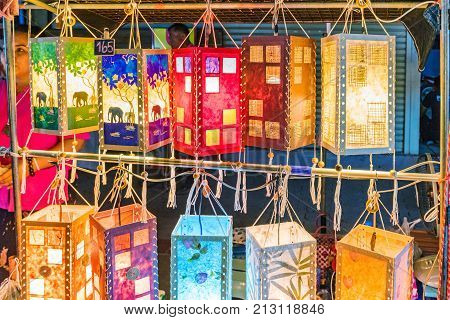 CHIANG MAI THAILAND - JULY 30: Night market scene of colorful lamps selling in a stall weekend market July 30 2017 in Chiang Mai