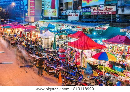 CHIANG MAI THAILAND - JULY 30: This is a traditional night market in the downtown area of Chiang mai on July 30 2017 in Chiang Mai