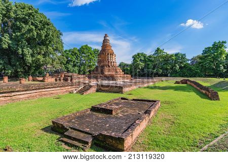 View of Wiang Kum Kam temple ruins in Thailand