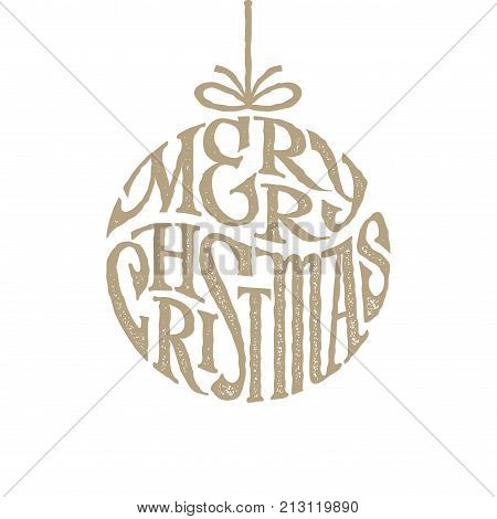 Hand drawn phrase Merry Christmas inscribed in a circle. Eps8. RGB. Organized by layers. Gradients free