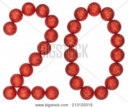 Numeral 20, Twenty, From Decorative Balls, Isolated On White Background