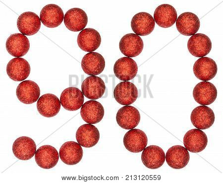 Numeral 90, Ninety, From Decorative Balls, Isolated On White Background