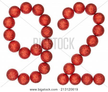 Numeral 92, Ninety Two, From Decorative Balls, Isolated On White Background