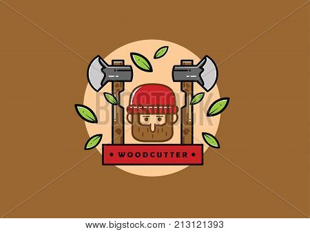 Vector or Illustration Cartoon Woodcutter with Background