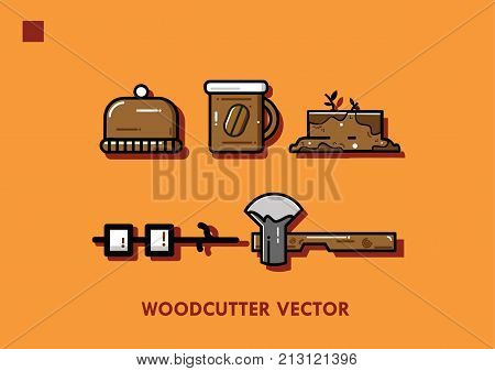 Woodcutter Vector Set Design With Color Background