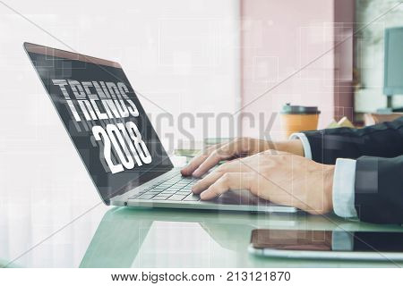 Hand of Businessman typing
