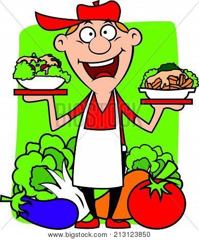 Cartoon farmer shopkeeper selling fresh vegetables in village market. Vector illustration