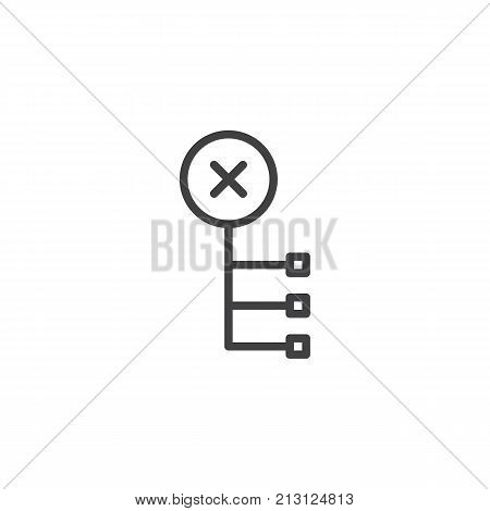 Delete node line icon, outline vector sign, linear style pictogram isolated on white. Symbol, logo illustration. Editable stroke