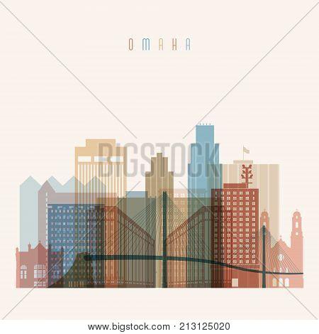 Omaha state Nebraska skyline detailed silhouette. Transparent style. Trendy vector illustration.