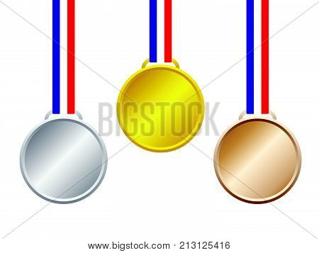 Vector Illustration Objects As Three Blank Medal Gold Silver Bronze With Blue White Red Stripes Ribbon Hanging On White Background For Business And Sport As First Second Third Place Success