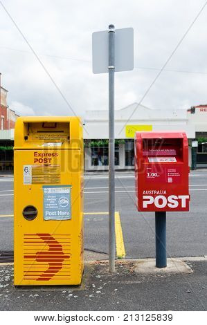 Ararat Australia - October 21 2017: Australia Post is a statutory corporation operating Australias postal service. It offers an Express Post yellow postbox and normal postal service.