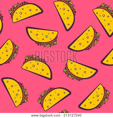 Colorful seamless pattern with cute cartoon mexican taco on pink background. Comic flat girlish pop art tacos texture for fast food textile wrapping paper package restaurant or cafe menu banners