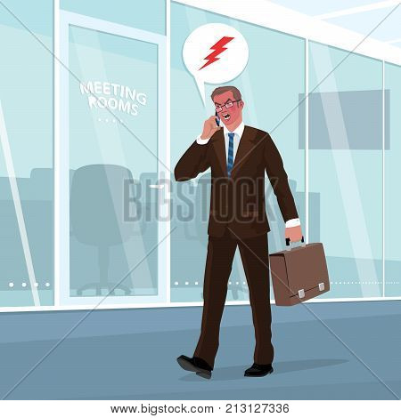 Angry Businessman Swears By Phone In Office