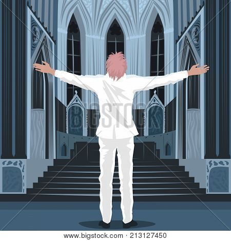 Believing Man Standing Inside Cathedral Church