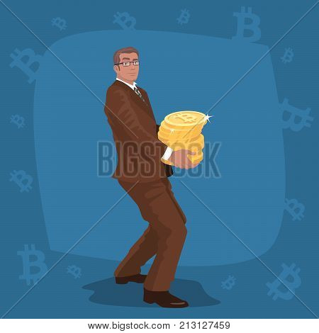 Businessman Carry Stack Of Bitcoin Coins