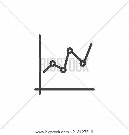 Business graph and chart line icon, outline vector sign, linear style pictogram isolated on white. Statistic diagram symbol, logo illustration. Editable stroke
