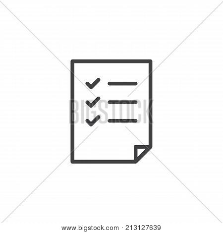 Check list line icon, outline vector sign, linear style pictogram isolated on white. Document form symbol, logo illustration. Editable stroke