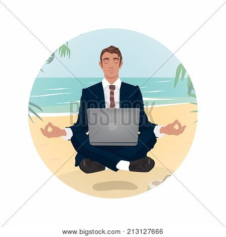 Businessmant Hovering In Lotus Pose On Beach