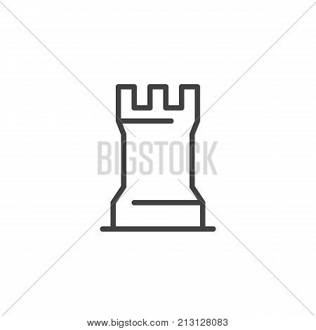 Chess game piece line icon, outline vector sign, linear style pictogram isolated on white. Rook chess figure symbol, logo illustration. Editable stroke
