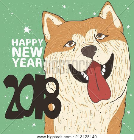 Funny Portrait Of Dog Breed Akita Inu