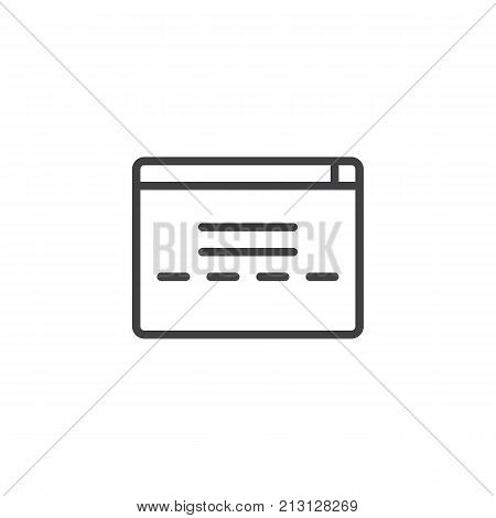 Web browser window line icon, outline vector sign, linear style pictogram isolated on white. Symbol, logo illustration. Editable stroke