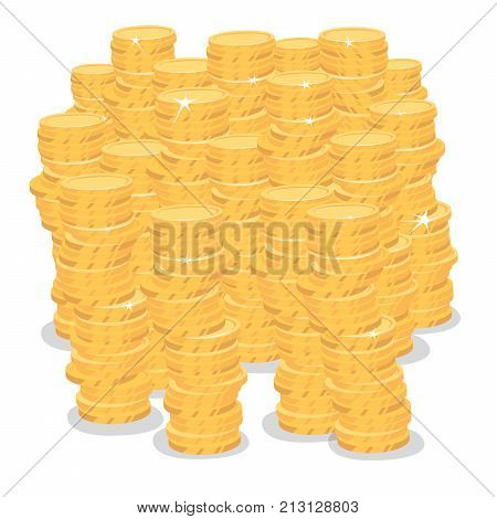 Isolate Big Pile Of Gold Coins Money