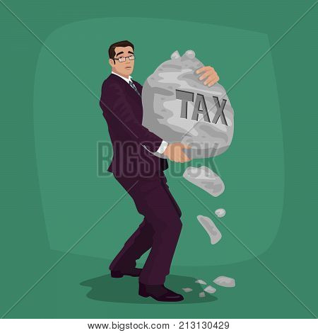 Unhappy Businessman Carry Rock With Lettering Tax