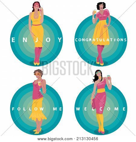 Set Of Round Stickers With Toasting Girls